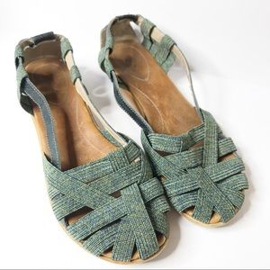 Olukai Green Strappy Woven Closed Toe Sandals 8
